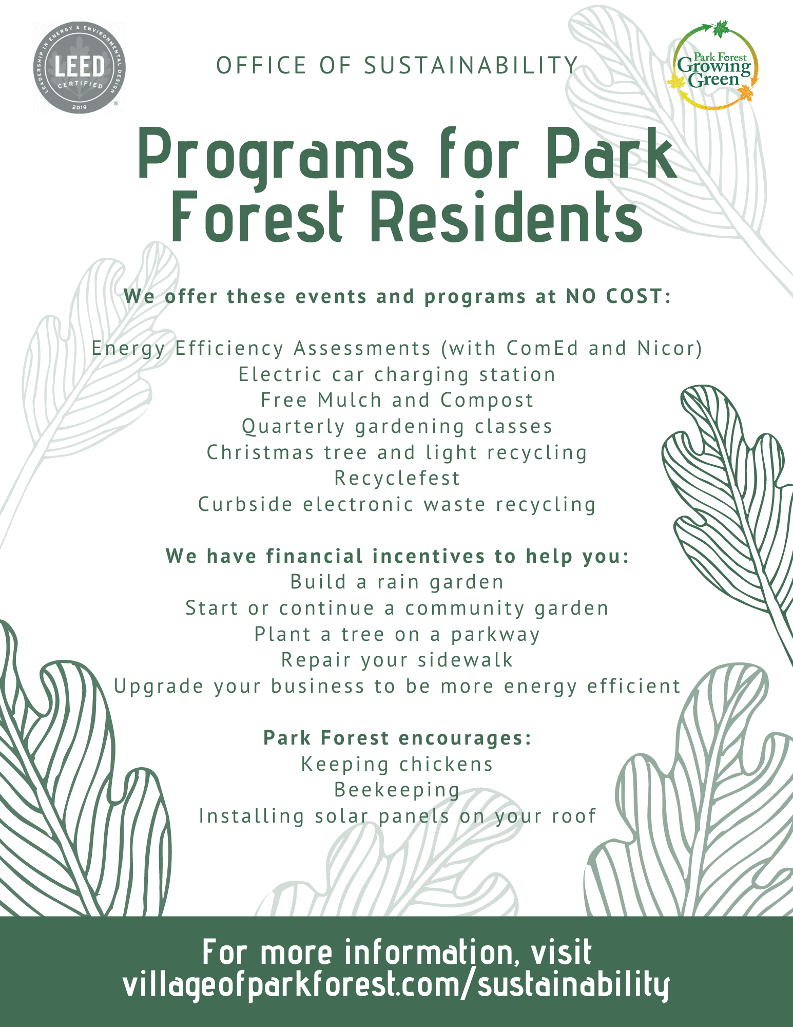 Programs for Park Forest Residents